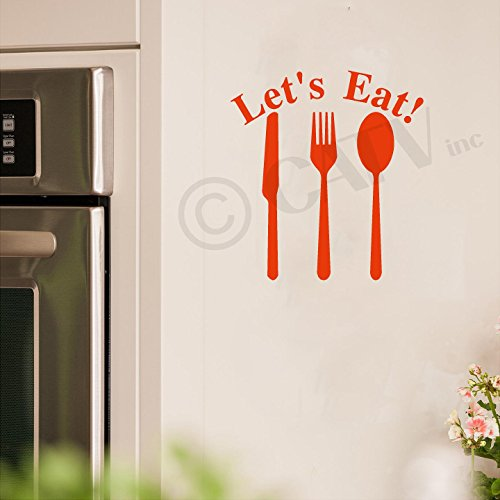 Let's Eat Knife Fork Spoon Vinyl Lettering Wall Decal Sticker (12.5