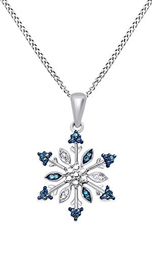 Blue & White Natural Diamond Snowflake Pendant Necklace In 14K White Gold Over Sterling Silver (0.07 (Blue Diamond Snowflake Pendant)