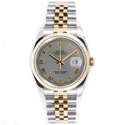 Rolex-Mens-New-Style-Heavy-Band-Stainless-Steel-18K-Gold-Datejust-Model-116233-Jubilee-Band-Fluted-Bezel-Silver-Roman-Dial