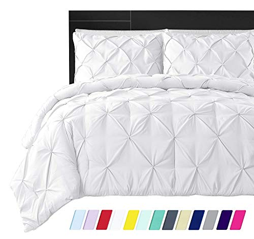 Linen Mercado Premium Quality Bedding Collection!Ultra-Soft Luxurious 3-Pc Pinch Pleated Pintuck Decorative Duvet Cover, Egyptian Cotton,800 TC Comforter Cover (King, White)