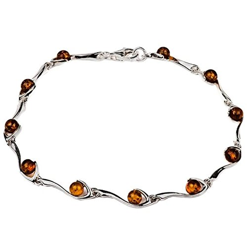 - Sterling Silver Amber Link Bracelet 7.5 Inches