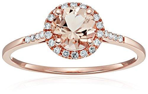 10k Rose Gold Morganite And Diamond Classic Princess Di Halo Engagement Ring (1/10cttw, H I Color, I1 I2 Clarity), Size 7