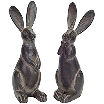 Amazon Com Creative Co Op Resin Rabbit With Cast Iron