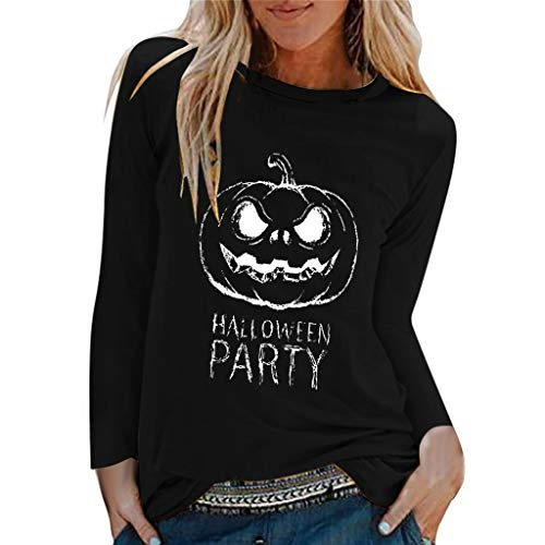 QIQIU Pumpkin Letter Print Tops, Womens Halloween Party Casual Solid Loose Long Sleeve O-NeckT-Shirt Shirts Blouse Black