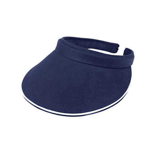 MG Women's Cotton Twill Clip-On Visor-4115-NAVY Cotton Twill Long Visor