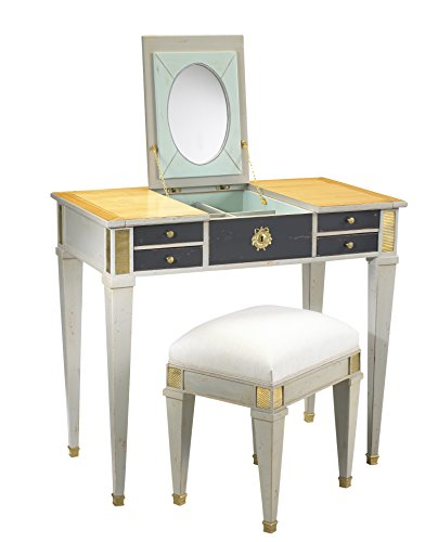 French Heritage Aubin Vanity and Stool, Sun bleached Cherry/Smoke - Vanity French