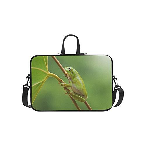 Frog Dumpy Frog Tree Frog Frog On The Leaves Pattern Briefcase Laptop Bag Messenger Shoulder Work Bag Crossbody Handbag for Business Travelling ()