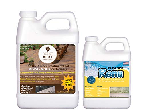 Resist Mist Half Gallon Kit Removes Stains From Mold, Mildew, Algae And Grease From Your Deck And Keeps Ugly Stains From Returning For 3+ Years! Treats 800-1000 SF Of Composite Decking PVC Fencing