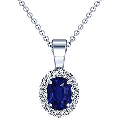 Amazon platinum cushion cut blue sapphire and round diamond platinum cushion cut blue sapphire and round diamond pendant aloadofball Image collections
