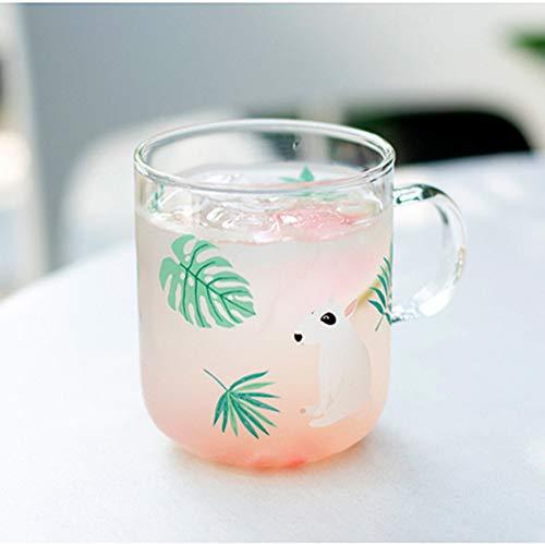 Bull Terrier Printed Glass Mug with Handle,Cute Animal Borosilicate Glass Cups Drinking Tea, Latte, Espresso, Juice,Milk (Bull Terrier Glass Mug(A))