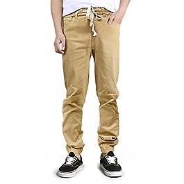 HDE Mens Chino Jogger Casual Twill Khaki Pants