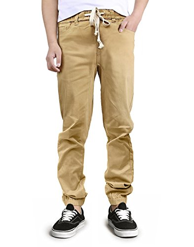 HDE Mens Chino Joggers Basic Twill Casual Jogger Pants (Khaki, Large)