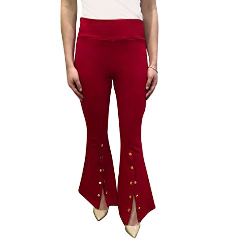 OrlyCollection Womens Elegant Unique High-Waist Flared Bell Bottom Pants Update Open Front Slit with Snap Gold Button (Red,Large)