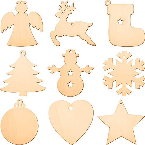 Blulu Wooden Cutouts Christmas Ornaments Hanging Ornaments Various Patterns for Holiday Decoration and DIY Craft Making (45 Pieces)