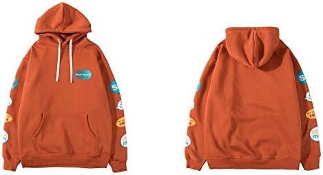 YDMZMS Herren Hoodie Ärmel Graffiti Graphic Print Hoodies Beiläufiger Pullover Mit Kapuze Sweatshirts Streetwear Fashion M Orange Rot