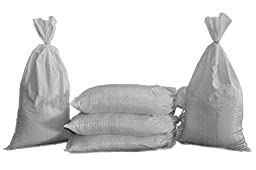 Sand Bags - Empty Beige-Tan, Green or White Woven Polypropylene Sandbags with BUILT-IN TIES, UV Protection; Size: 14\