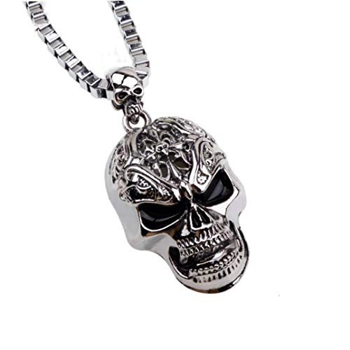 (Dongxin Fashion Retro Style Men's Gifts Stainless Steel Tones Gothic Skull Pendant Necklace Alloy Jewelry 22.3 Inches Chain for Holiday Souvenir Gifts Charms)