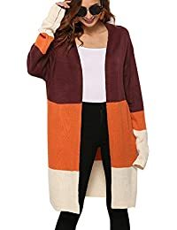 Womens Color Block Striped Cardigan Long Sleeve Open Front Knit Sweater Cardigan