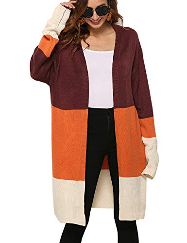 Womens Loose Baggy Sweater Coat Rainbow Stria Cardigan Coat Rib Knit Pullover Top Oversized Jackets with Pocket