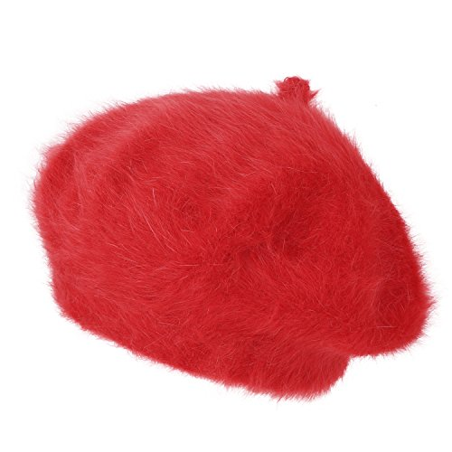 ililily Solid Color Angora French Beret Furry artist Flat Winter Hat, - Hem Furry Knit