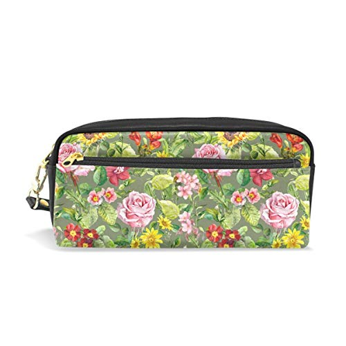 (Watercolor Meadow Flowers Summer Herbs Floral Pattern Portable PU Leather Pencil Case School Pen Bags Stationary Pouch Case Makeup Cosmetic Bag Large Capacity)
