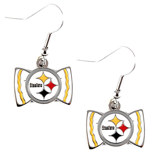 (Sports Team Pittsburgh Steelers Bow Tie Dangle Earring Set)