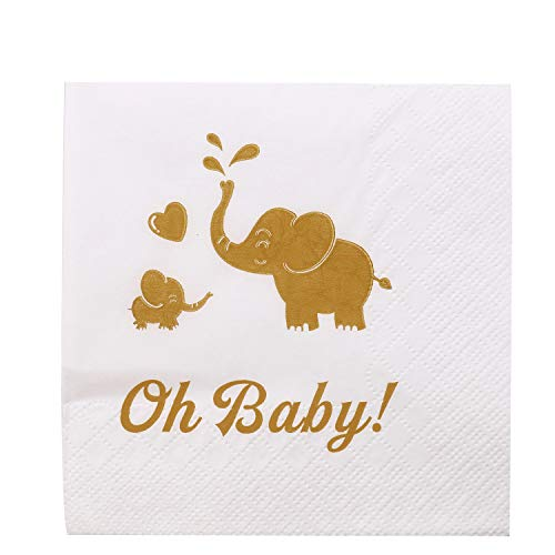 Oh Baby Napkins,Gold Color Printing Cocktail Beverage Napkins for Baby Shower Elephant Themed Baby Birthday,100 Packs for $<!--$11.99-->