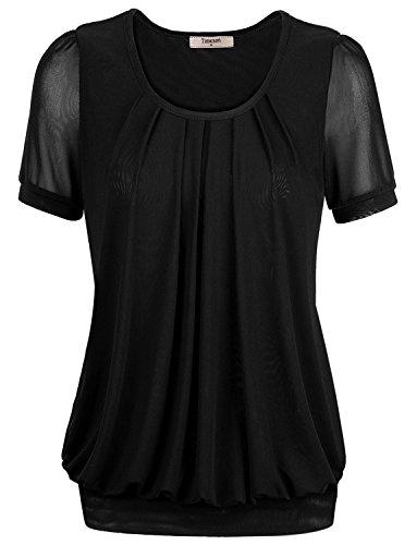 Short Sleeve Tshirt Women,Timeson Womens Unique Strentcy Round Neck Plus Size Tunic Top XX-Large Black