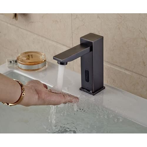 80%OFF YAJO Modern Touch-Free Automatic DC PowerBathroom Vessel Sink Sensor Faucet Only Cold Mixer Faucet, Oil Rubbed Bronze