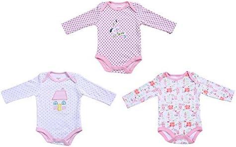 decdeal 3pcs Juego de ropa de bebé Pelele para niña 100% algodón manga larga Pelele bebé ropa Mono: Amazon.es: Hogar