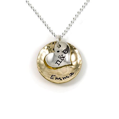 Sentimentally Close-Personalized Charm Necklace. Features 2 Customized Initials on a Sterling Silver Heart Charm and a Customized Name on a 14k gold plated Disc. Choice of Sterling Silver Chain