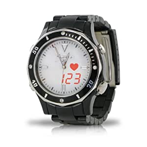 Fashion S-Pulse Heart Rate and Dual Time Zone Watch with Large LED Readout (Mens, Black)