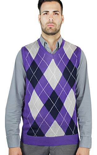 Blue Ocean Argyle Sweater Vest-Medium -