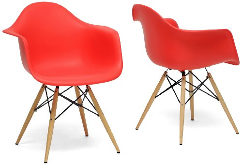 Baxton Studio Pascal Plastic Mid-Century Modern Shell Chair, Red, Set of 2