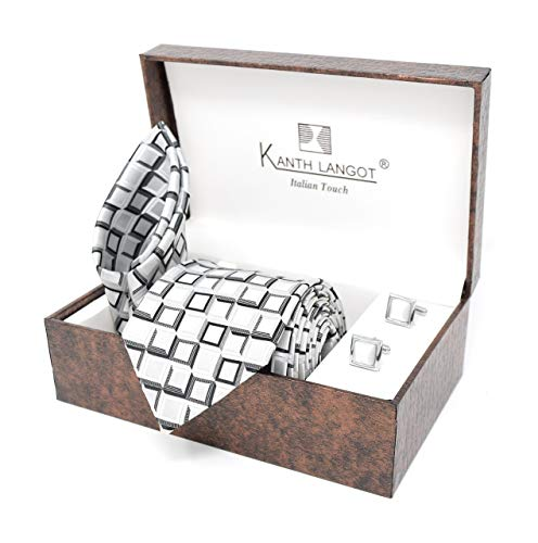 Kanthlangot Jacquard Black And White Square Pattern Tie Pocket Square And White Cufflinks Set