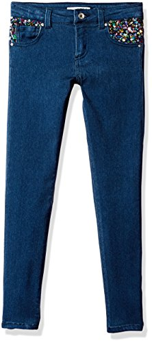 Kids Girls Denim Guess - GUESS Girls' Big' Super Skinny Sequin Denim, Medium wash, 10