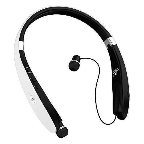 Bluetooth Headphones, Bluetooth Headset Foldable Neckband Wireless Headset with Retractable Earbuds, Bluetooth V4.1, 16 Hours Playtime, Sports Sweatproof Noise Cancelling Earphones with Mic White