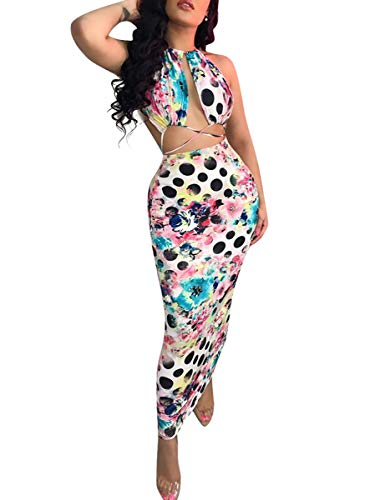 Womens Sexy Bodycon Outfits Skirts- Halter Sleeveless Floral Print Cut Out Top Pencil Summer Long Dresses White XXL
