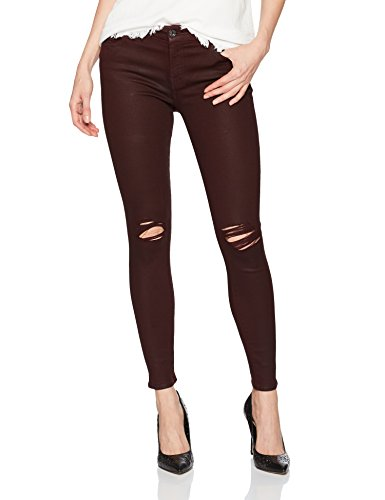 7 For All Mankind Womens Ankle Skinny Jean with Destroy in Coated Color SCARLETE2 26