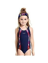 Kids Girl Athletic One Piece Sport Swimsuit Racerback School Lesson Swimwear