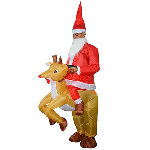 Scary Santa Claus Costume (Christmas Inflatable Costume, Inflatable Costumes for Adults - Santa Claus and Elk Blow Up Costume - Fancy Dress Cosplay Costume (Santa Claus and Elk))