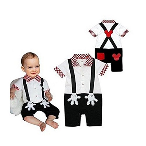 Baby Boy Mickey Mouse Onesie Costume Smart Tuxedo Romper Outfit Pageboy, White, 90(12-18 -