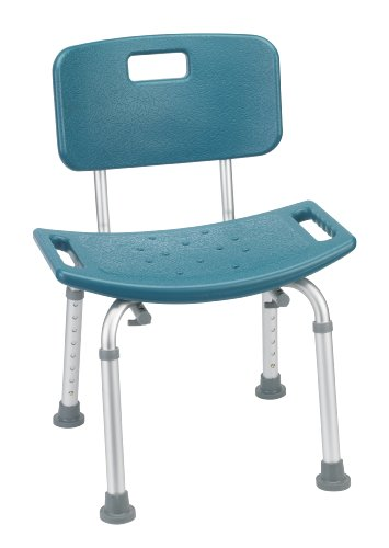 Drive Medical Designer Series Deluxe Bath Bench with Back, Teal Drive Medical Designer Series