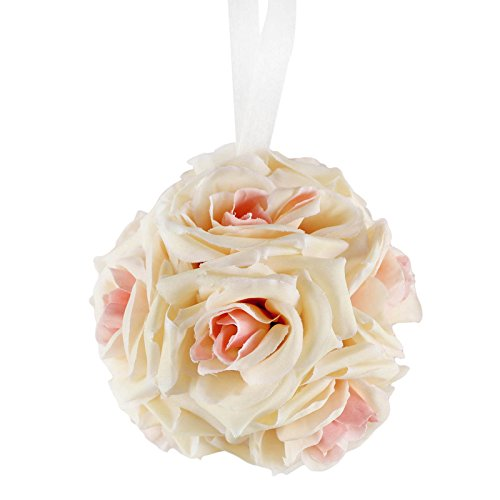 AerWo 6 Inch Kissing Ball Pomander Flower Crystal Pew Wedding Silk Party Rose Champagne