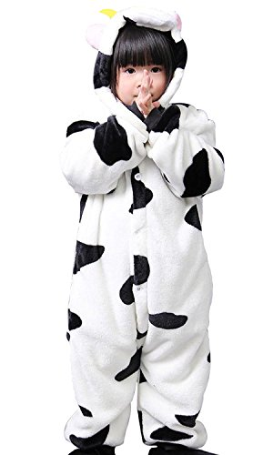 ABING Halloween Pajamas Homewear OnePiece Onesie Cosplay Costumes Kigurumi Animal Outfit Loungewear,Cow Chidren Size 105 -for (Cow Costumes)