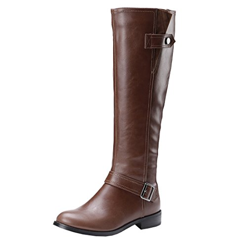 Agodor Womens Flat Closed-Toe Knee High Boots With Zip Buckle Winter Long Shoes Brown kYMdFn4ll6