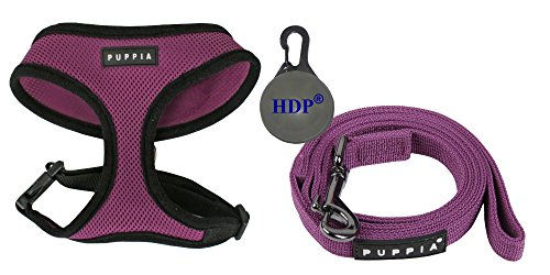 Puppia Dog Soft Mesh Harness and a Leash COMBO Color:Purple Size:Medium