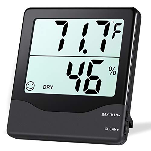 ORIA Digital Hygrometer Thermometer, Indoor Thermometer Humidity Monitor, Temperature Humidity Gauge Meter, with Comfort Indicators, Min and Max Records, for Home, Office, Greenhouse, Room