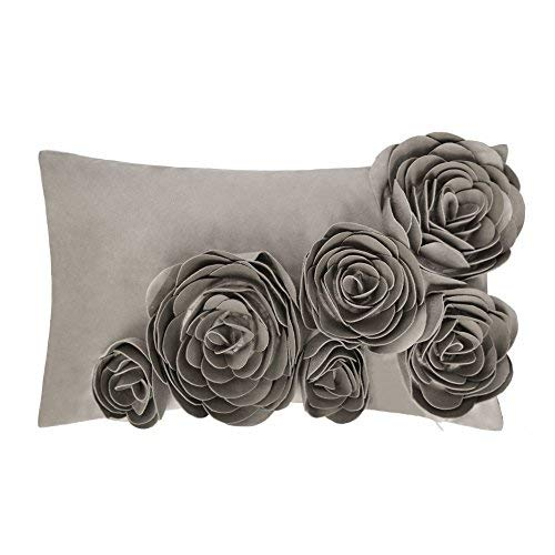 JWH 3D Handmade Accent Pillow Case Rose Flower Cushion Cover Super Soft Velvet Decorative Pillowcase Home Sofa Car Bed Living Room Office Chair Decor Shell Girl Gift 12 x 20 Inch Taupe