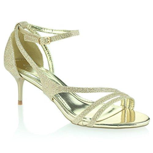 Mujer Señoras Punta Abierta Correa de Tobillo Delgado Tacón Medio Noche Fiesta Boda Prom Sandalias Zapatos Talla Oro